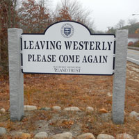 leaving westerly sign